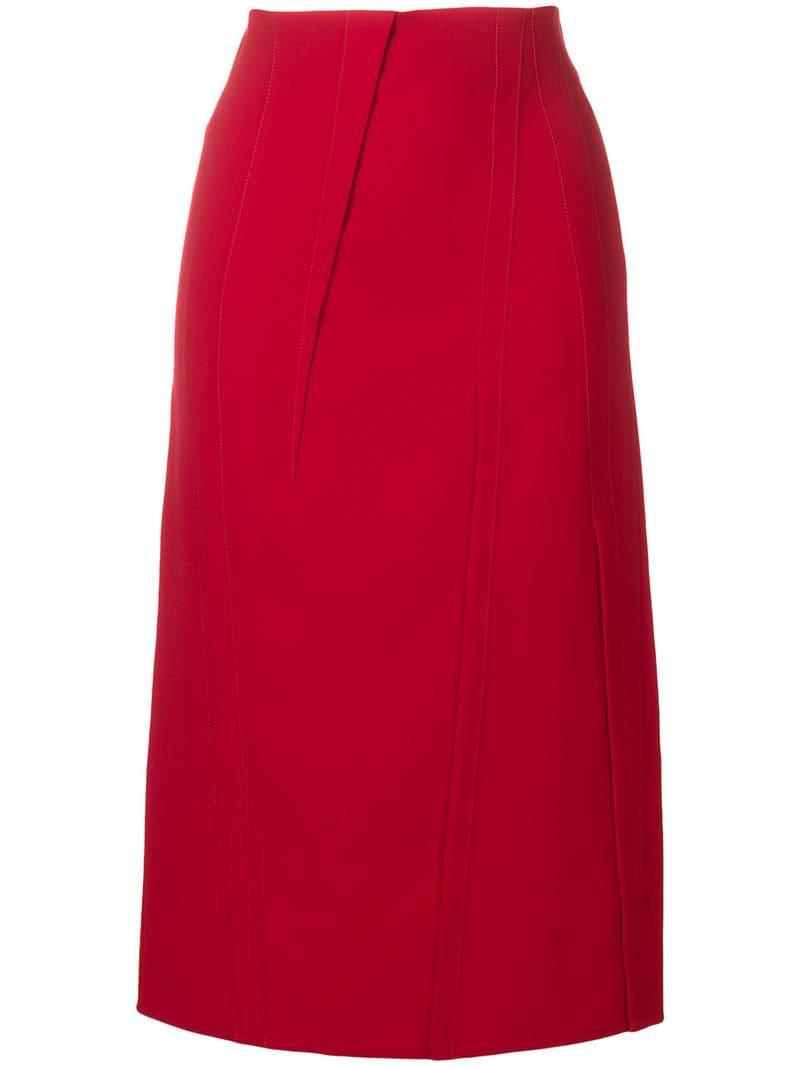 ee9cd84cd2 Victoria Beckham Fitted Skirt in Red - Lyst