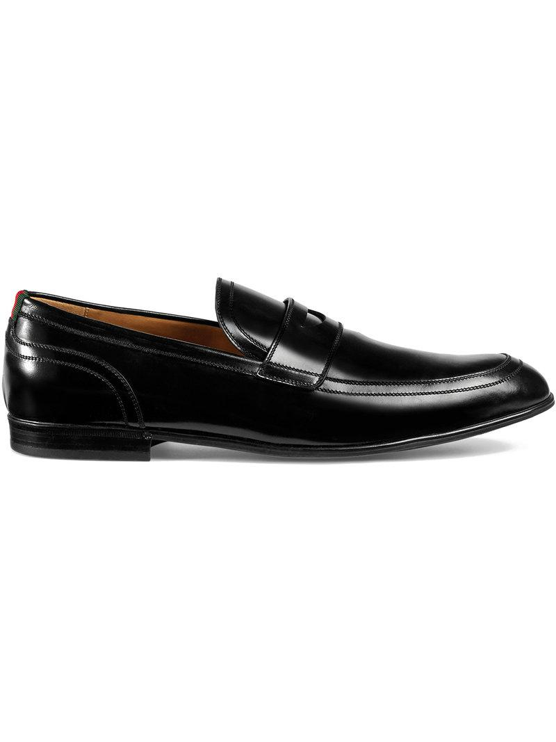 04eea081614 Gucci Leather Loafer With Web in Black for Men - Lyst