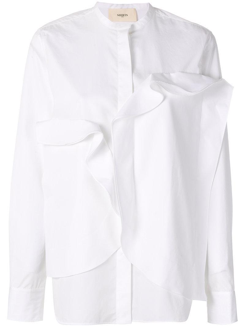 con volantes mujer de 1961 blanca Camisa Puertos qxHwUXROy