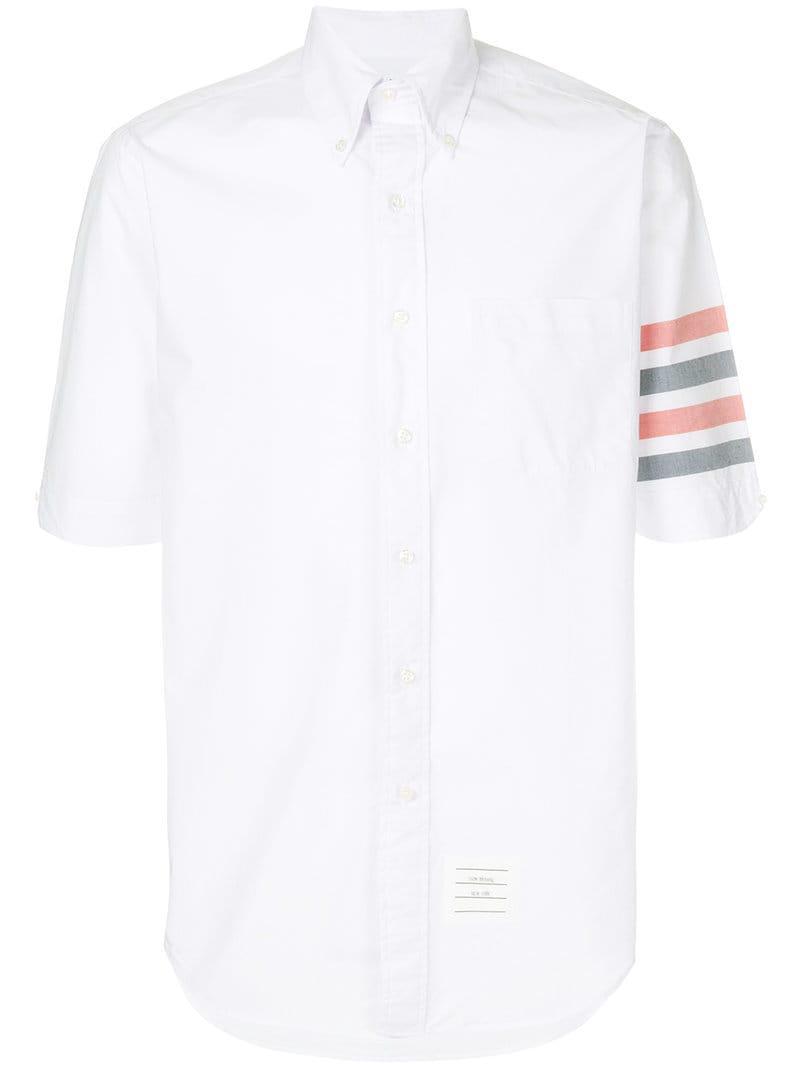 b890b1fc4d8 Lyst - Thom Browne Woven 4-bar Armband Poplin Shirt in White for Men