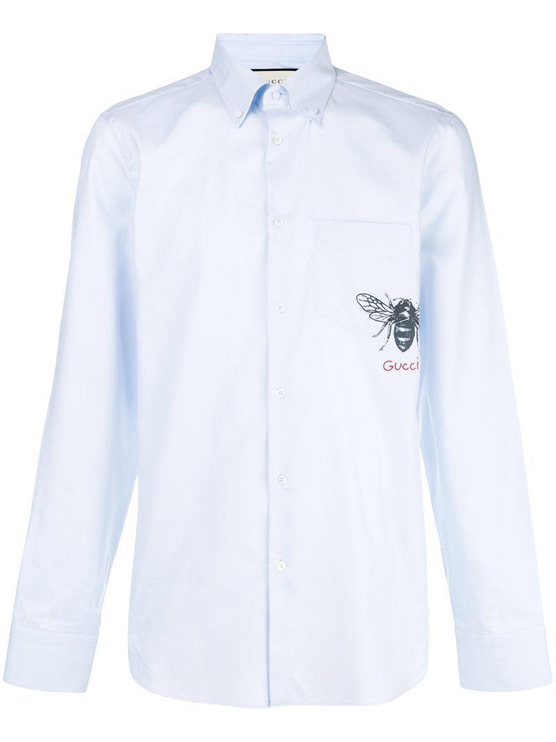 3b322435bf8 Gucci - Blue Bee Print Shirt for Men - Lyst. View fullscreen