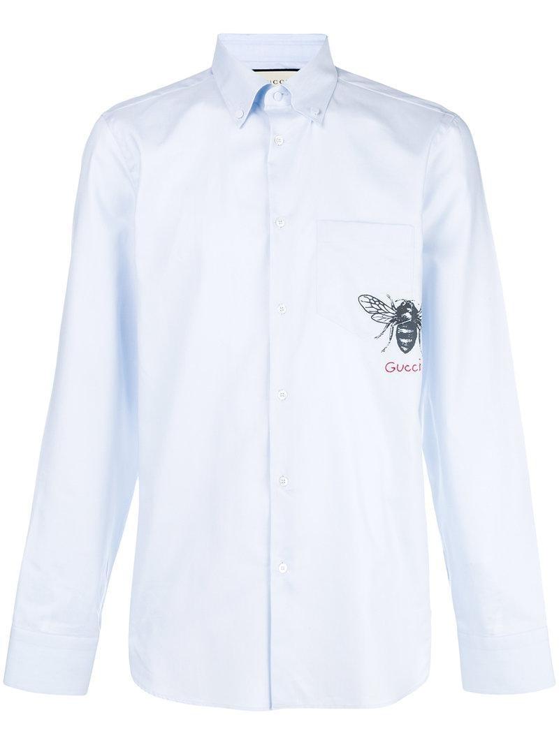 9496ad4603eb Gucci - Blue Bee Print Shirt for Men - Lyst. View fullscreen