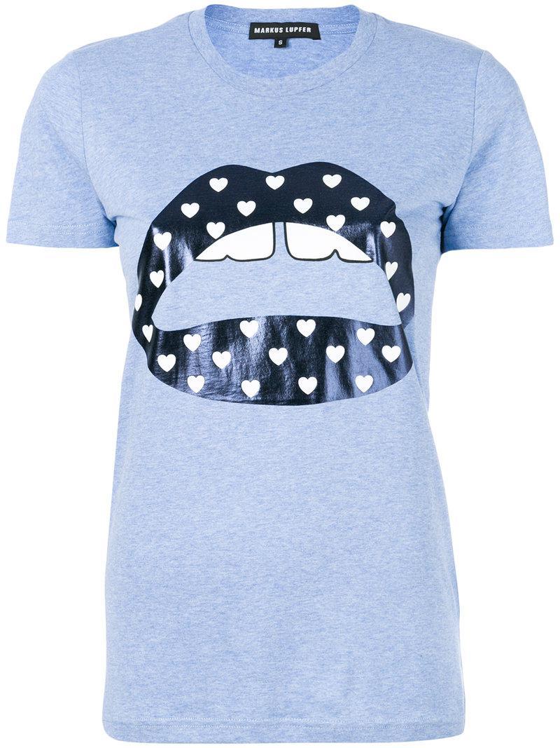 Lyst Markus Lupfer Metallic Lips Print T Shirt In Blue
