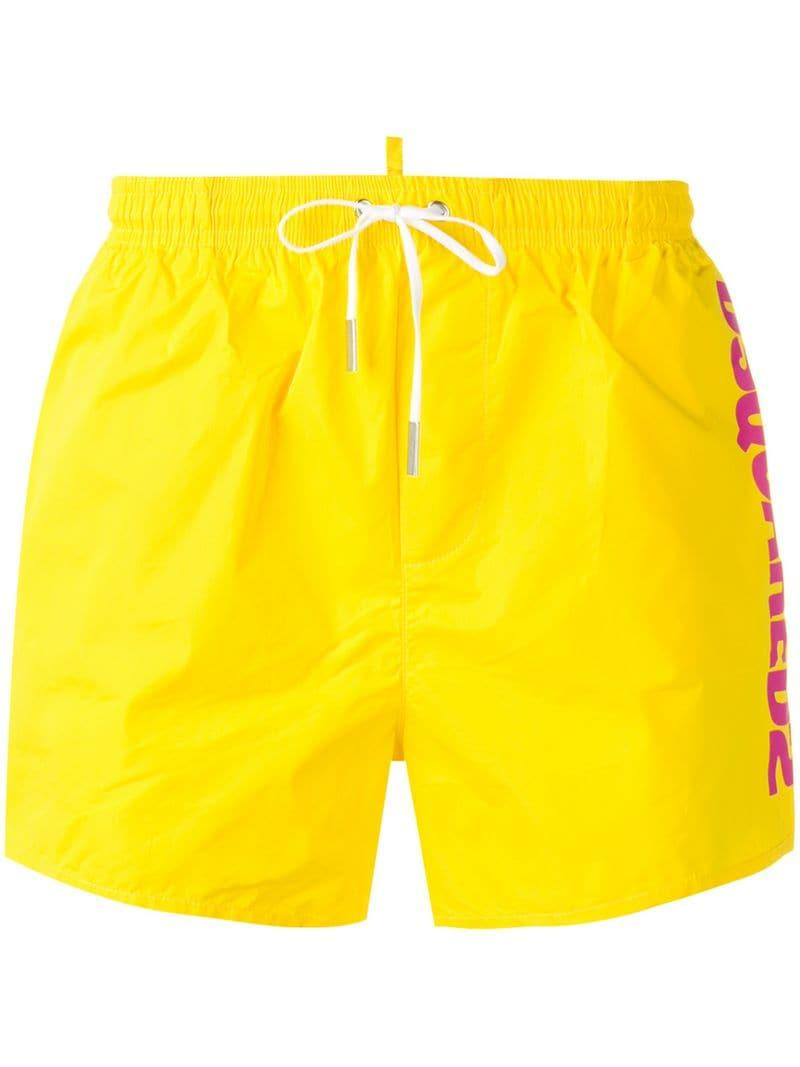 241892295f DSquared² - Yellow Logo Swim Shorts for Men - Lyst. View fullscreen