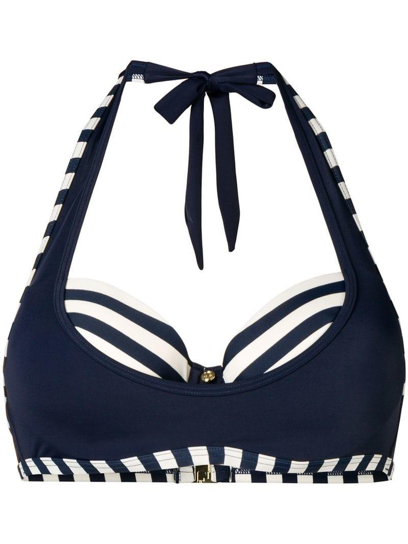 25ed27269cd739 Lyst - Marlies Dekkers Marinieère Plunge Balcony Bikini Top in Blue