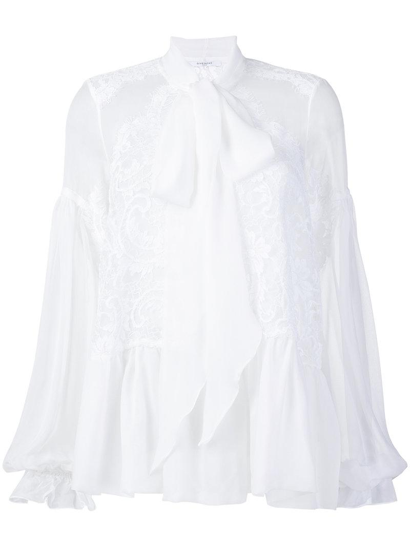 7e5ad0ff Givenchy Lace-embroidered Flared Blouse in White - Save 70% - Lyst