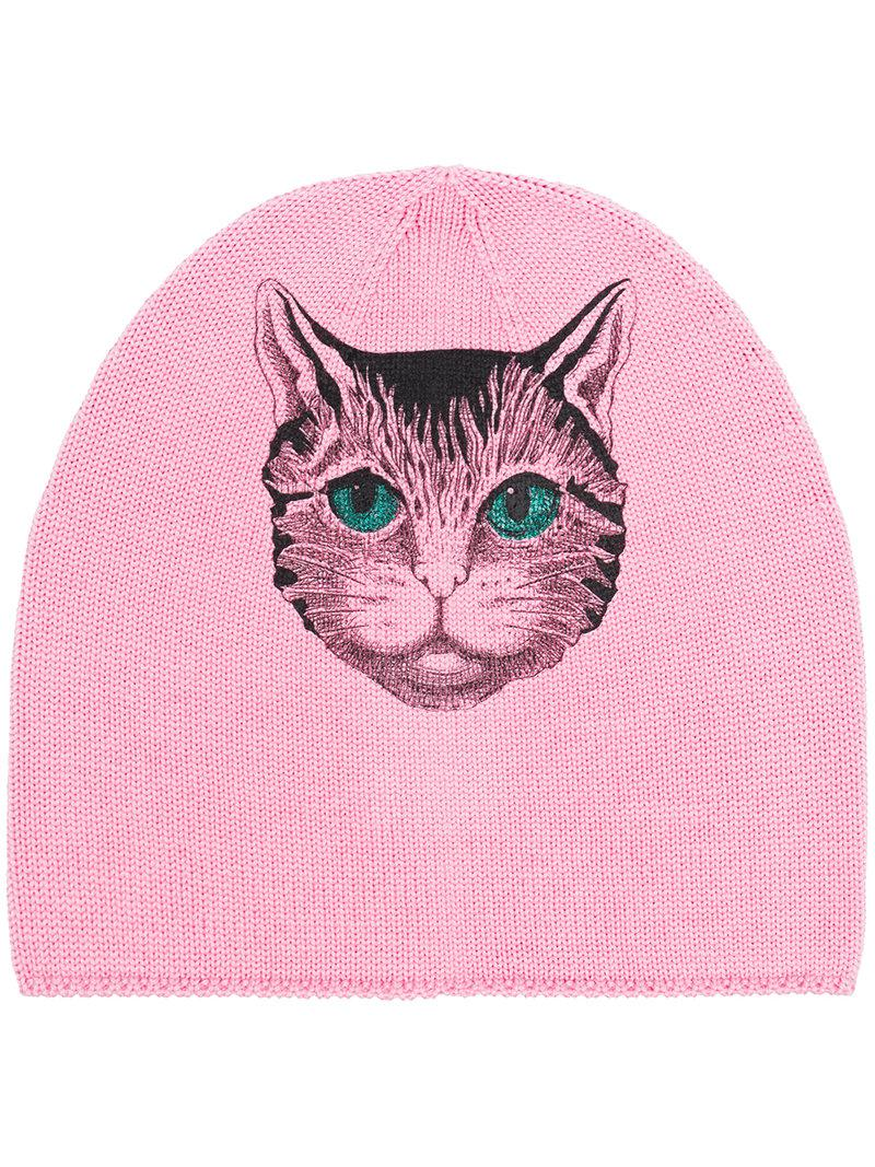 Angry Cat motif beanie hat - Multicolour Gucci