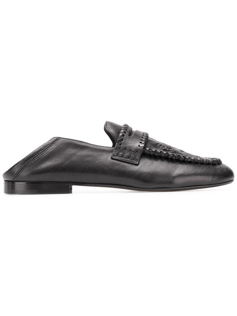 518689adeb7 Isabel Marant Firven Woven Loafers in Black - Lyst