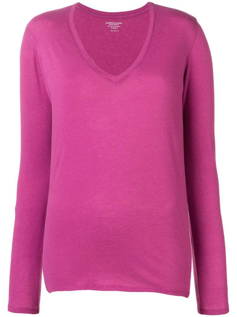 Neck Sweater Majestic Women's V Filatures RWIIxt