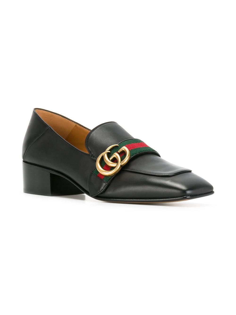 e912e804973 Lyst - Gucci Gg Web Low-heel Loafer Pumps in Black