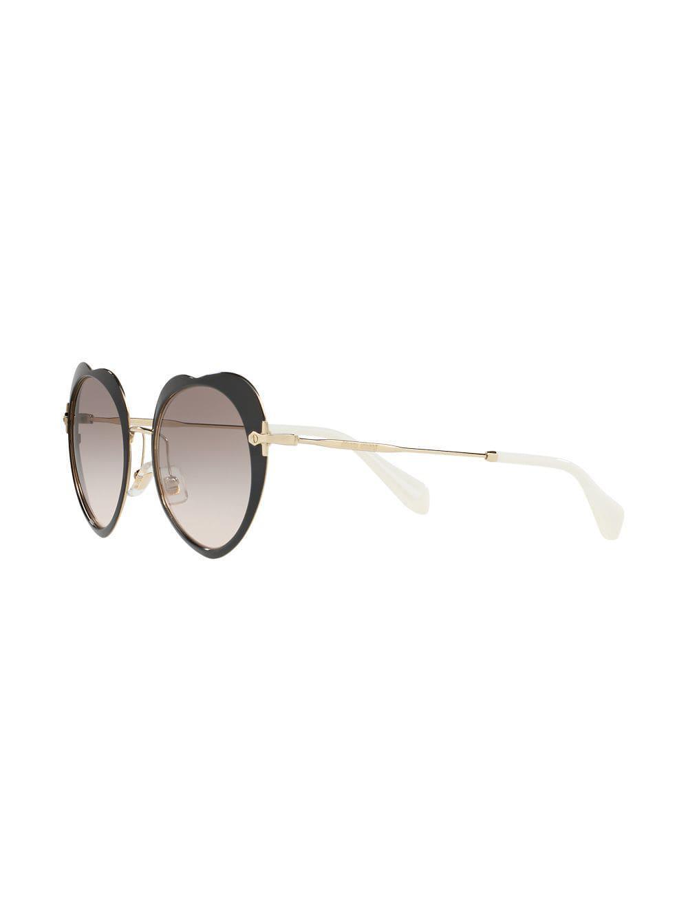 5b26d61b790 Miu Miu Heart-shaped Sunglasses in Black - Lyst