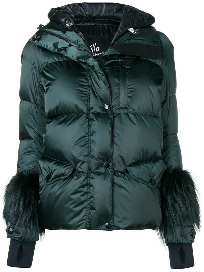 6d910256b Lyst - Moncler Grenoble Fur Cuffs Padded Jacket in Green
