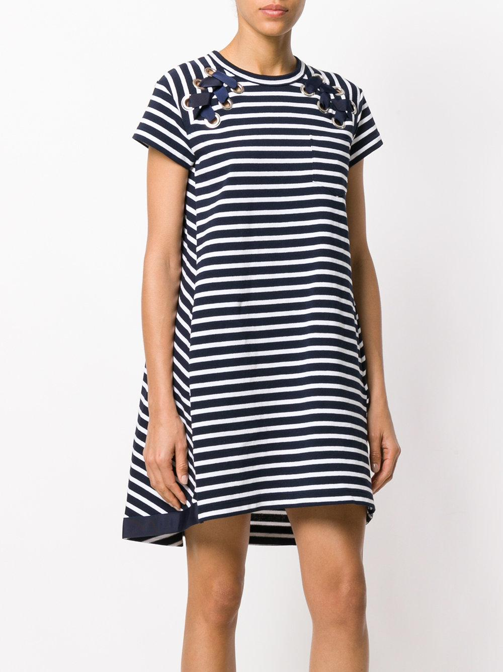 In China lace-up detail marine dress - Blue sacai Clearance Shop Offer UTr1fHemv