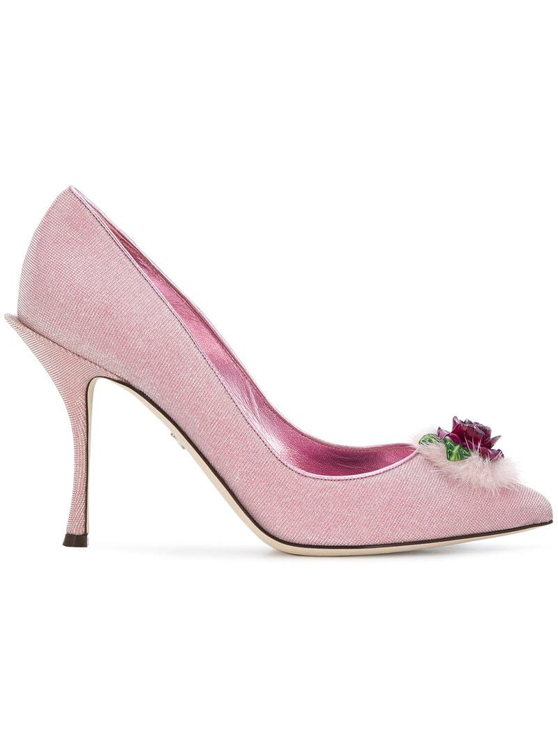 cfe6aae54f21d Lyst - Zapatos de tacón Lori con apliques de rosas Dolce   Gabbana ...
