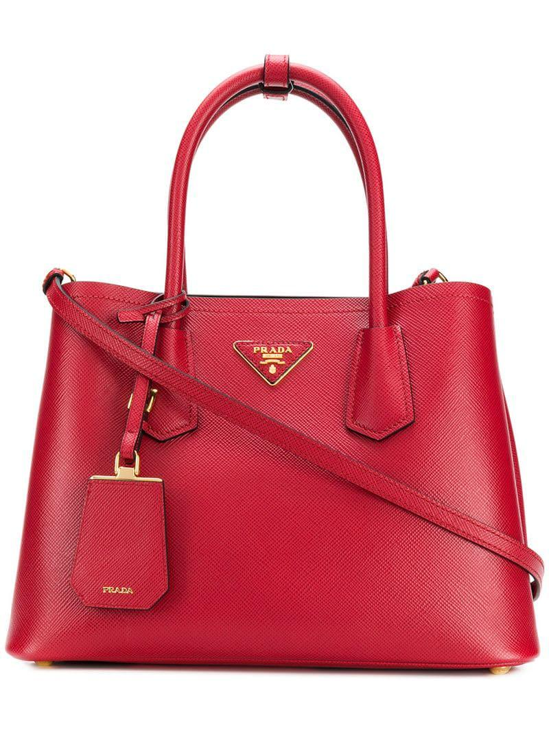 3c13ad77cf88 Prada - Red Bibliotheque Tote Bag - Lyst. View fullscreen