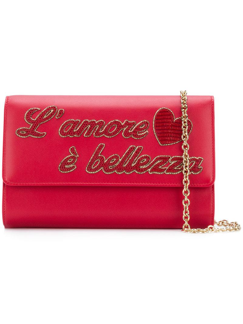 5ee770e02f Dolce   Gabbana L amour Clutch Bag in Red - Lyst