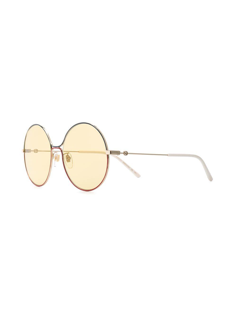 a253f762b01 Lyst - Gucci Round Metal Sunglasses in Metallic
