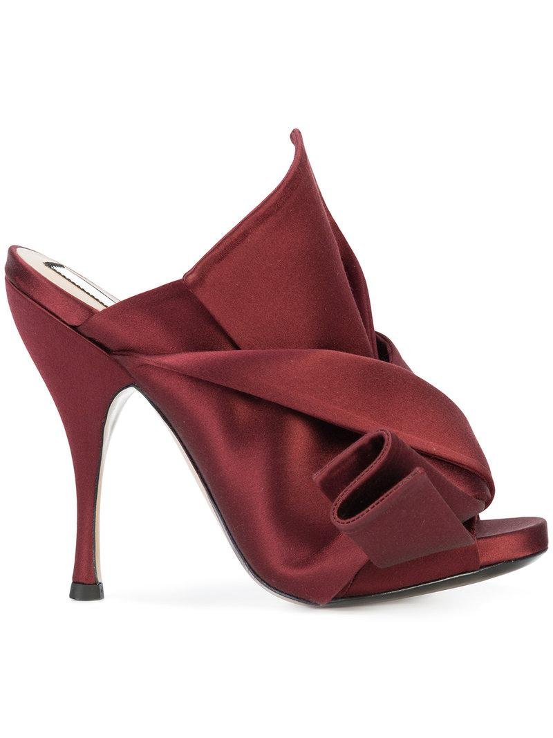 abstract bow high-heel mules - Red N°21 gHZInfQo8q