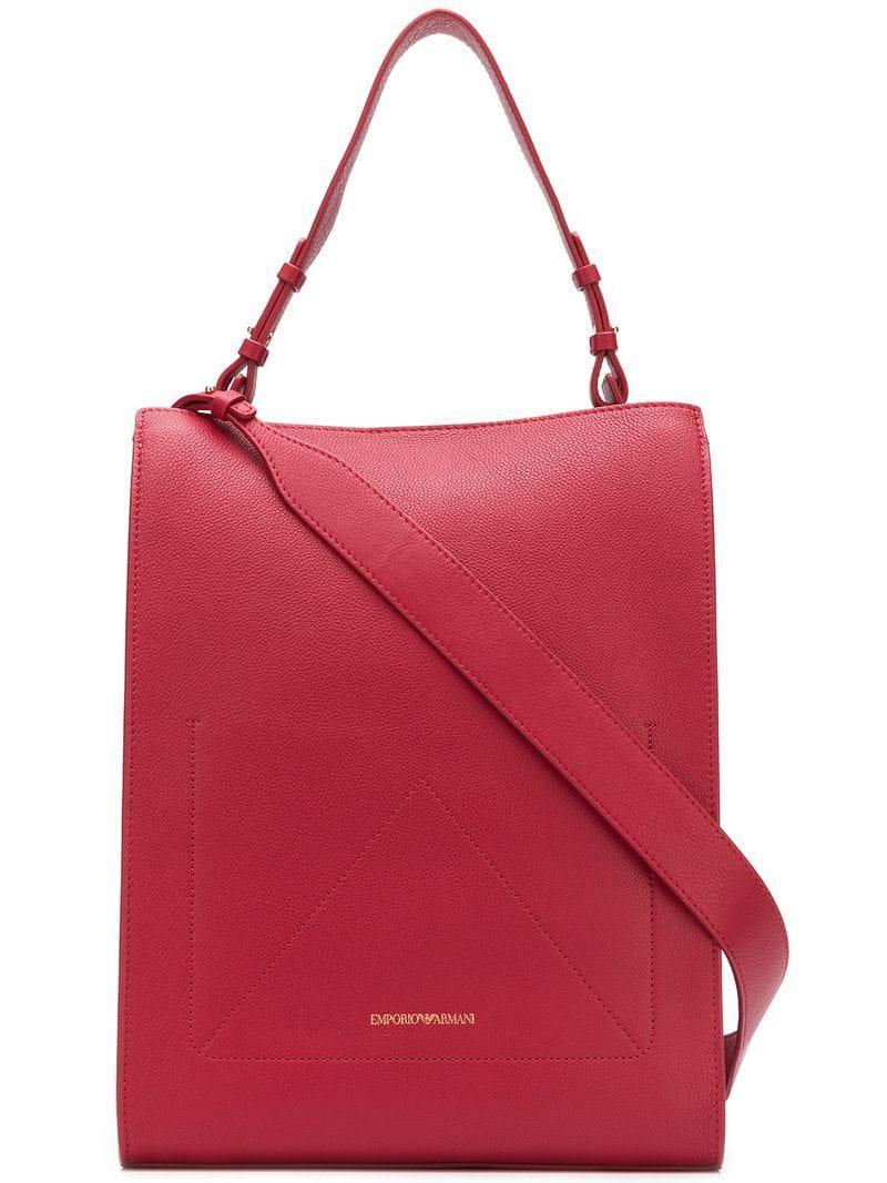 Lyst - Sac à main en cuir Emporio Armani en coloris Rouge ab3707f0354