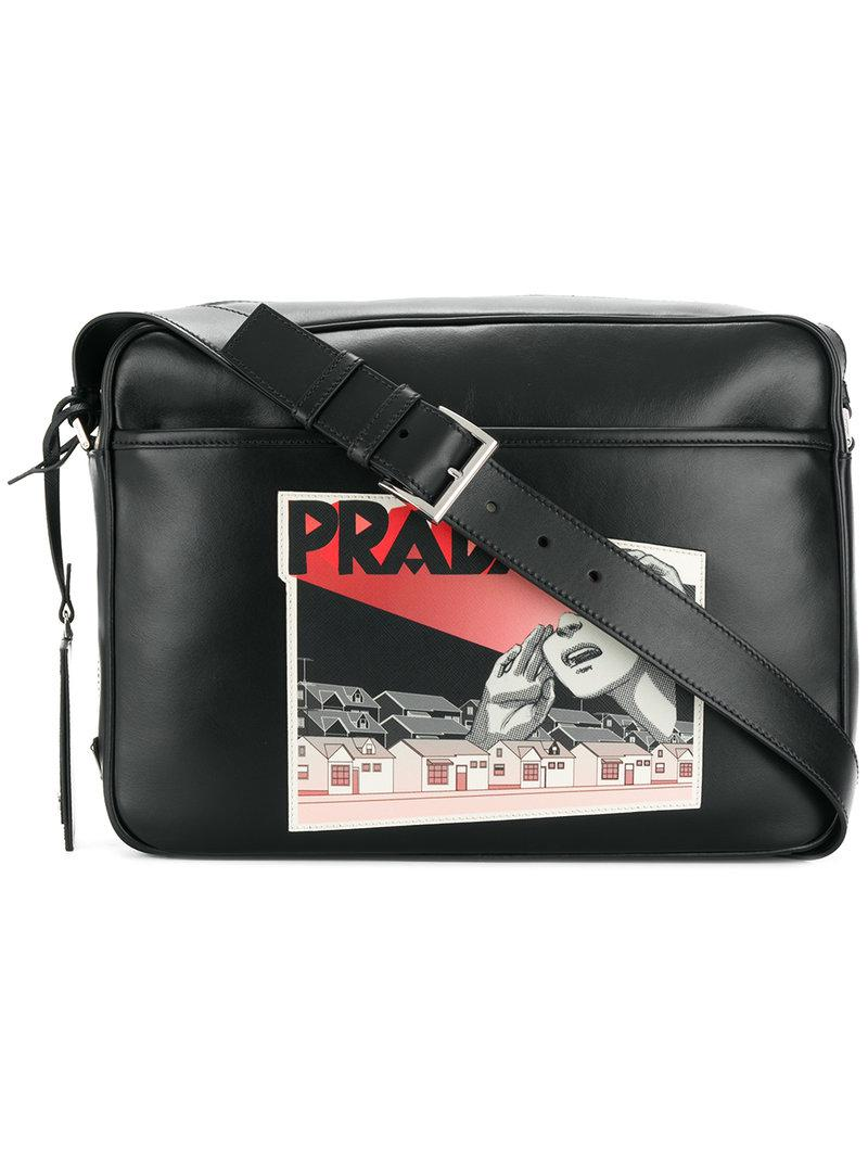 34d76905f96f Prada Comic Logo-print Shoulder Bag in Black for Men - Lyst