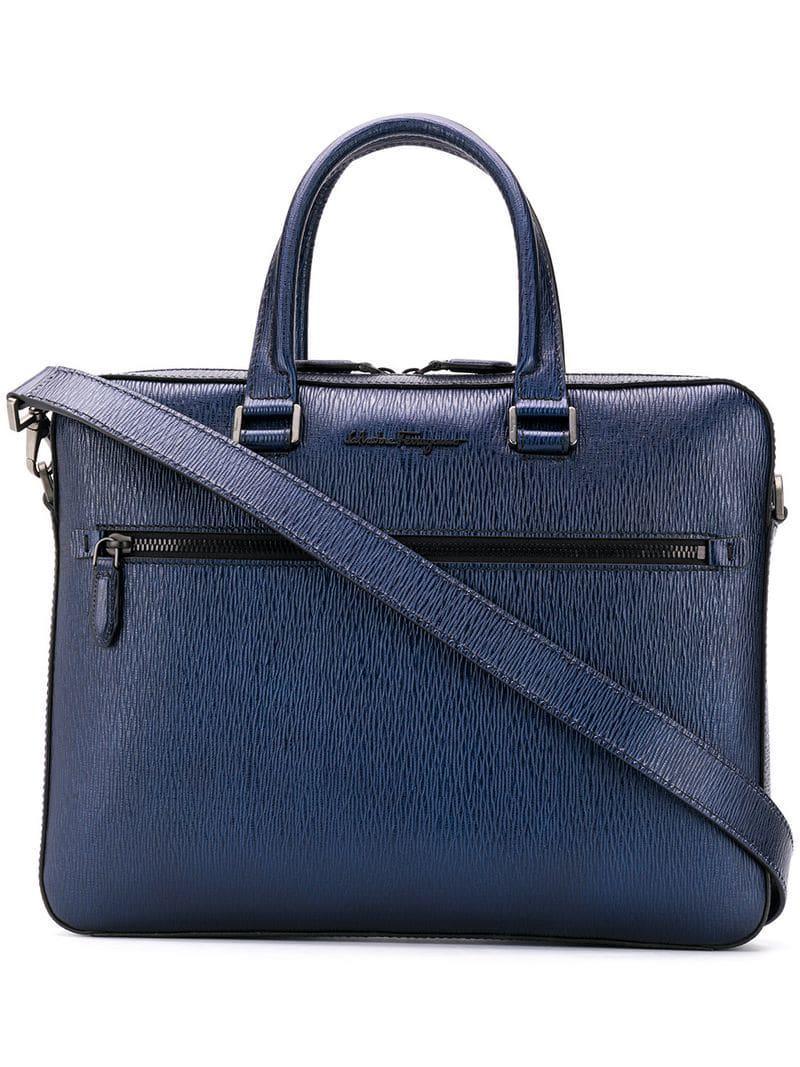 c27c0ca48952 Ferragamo Textured Leather Laptop Case in Blue for Men - Lyst