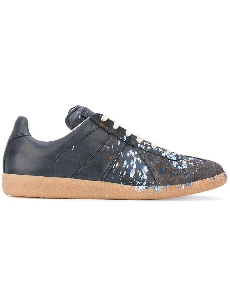 23f3027e10d9 Maison Margiela Grey Paint Splatter Replica Sneakers in Blue for Men ...