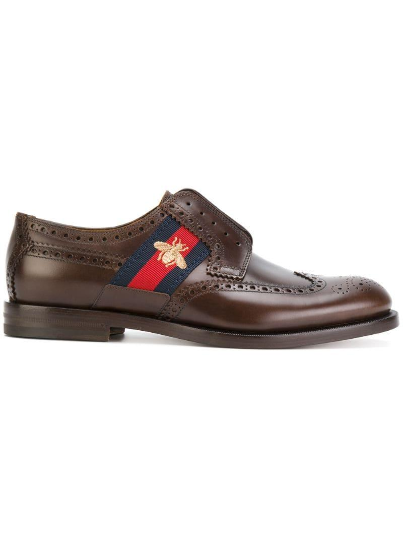 Lyst Gucci Bee Gg Web Trim Brogues In Brown For Men