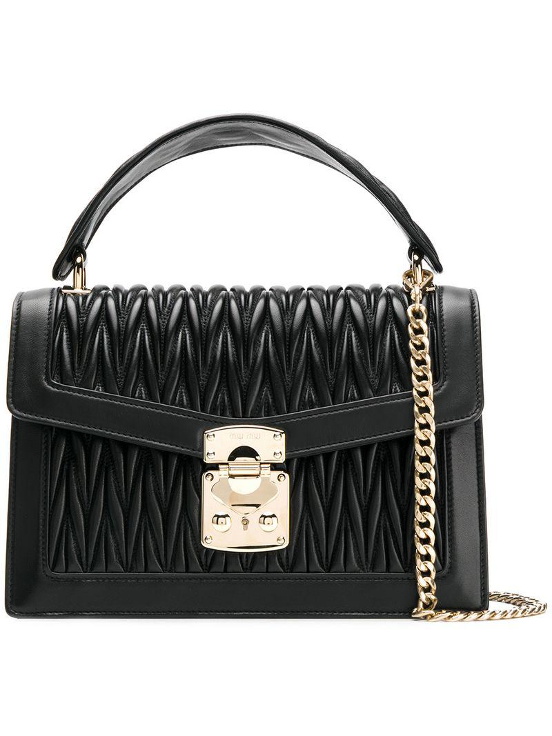 2cd3772698f5 Lyst - Miu Miu Confidential Matelassé in Black