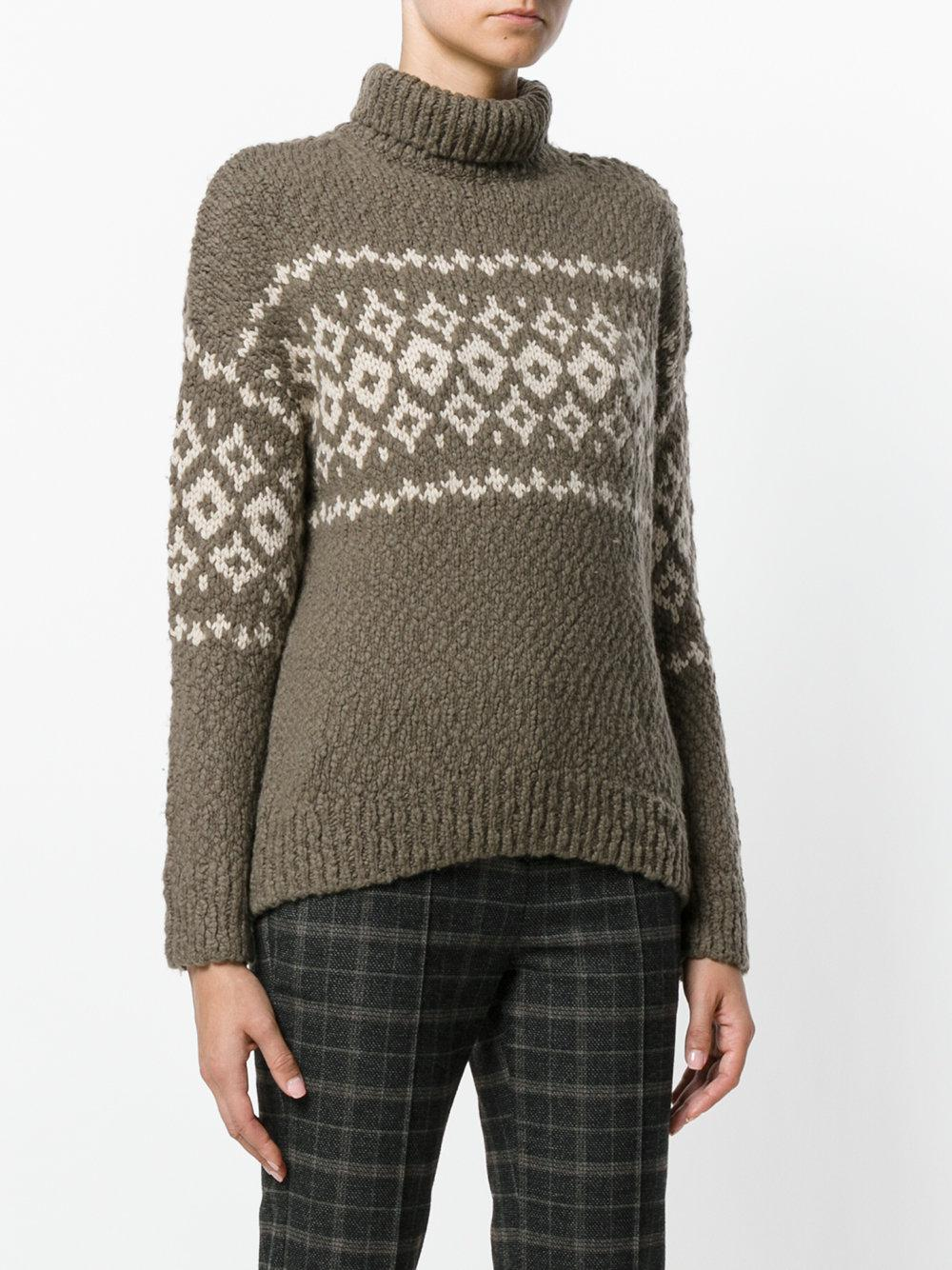 Vince Fair Isle Sweater in Brown | Lyst