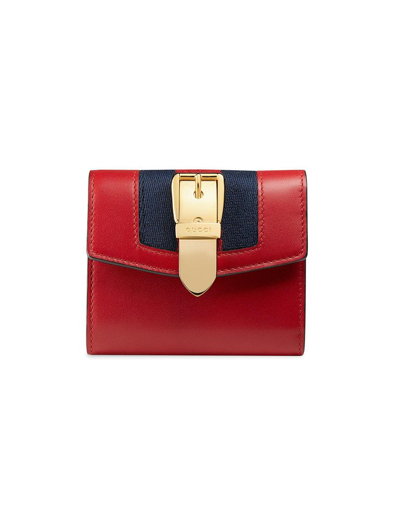 961197202537 Lyst - Gucci Sylvie Leather Wallet in Red - Save 6%