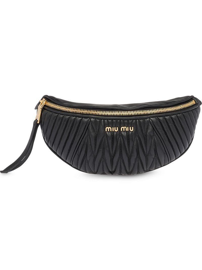 47cffdbff31 Miu Miu - Black Matelassé Leather Belt Bag - Lyst. View fullscreen
