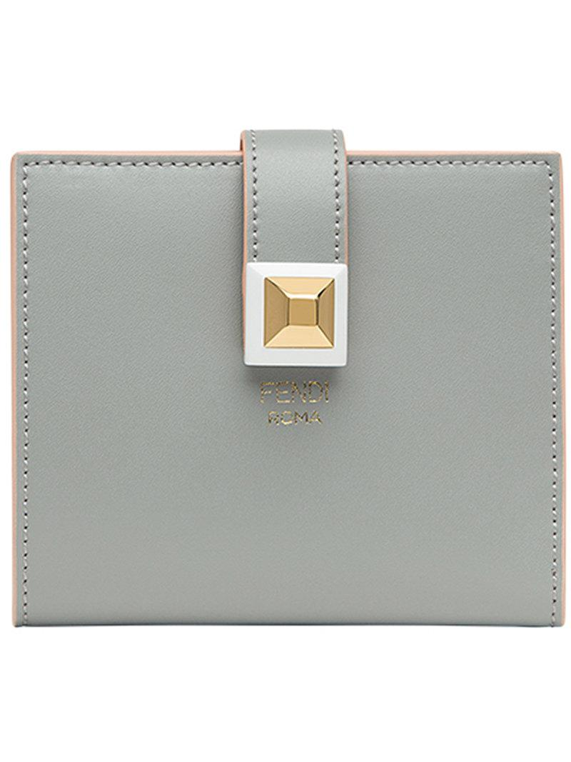 Beige and Pink Single Stud Compact Wallet Fendi ndRE8oP