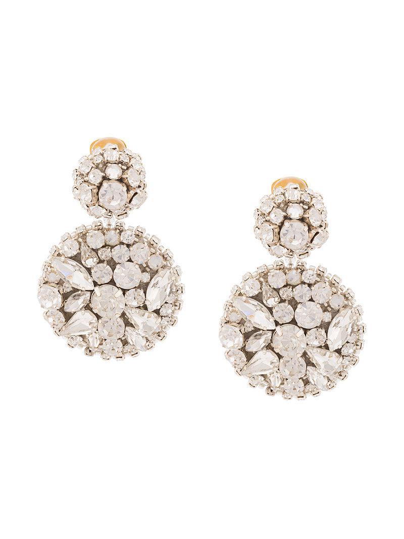 Oscar De La Renta jeweled disc earrings - Metallic Cs1geYTv