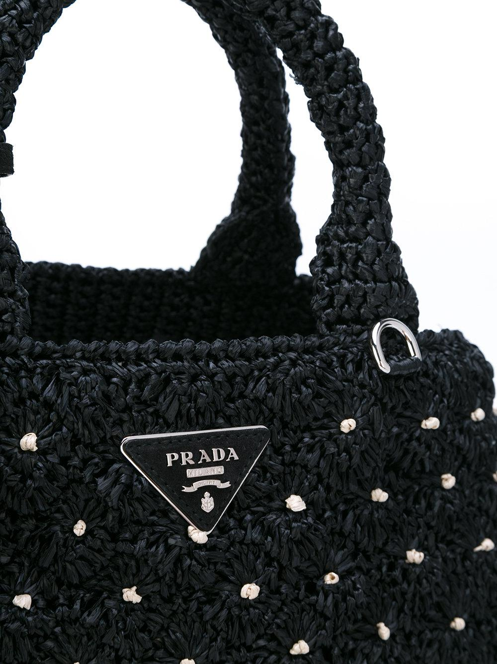 cf43471e16bb5e Lyst - Prada Raffia Tote in Black