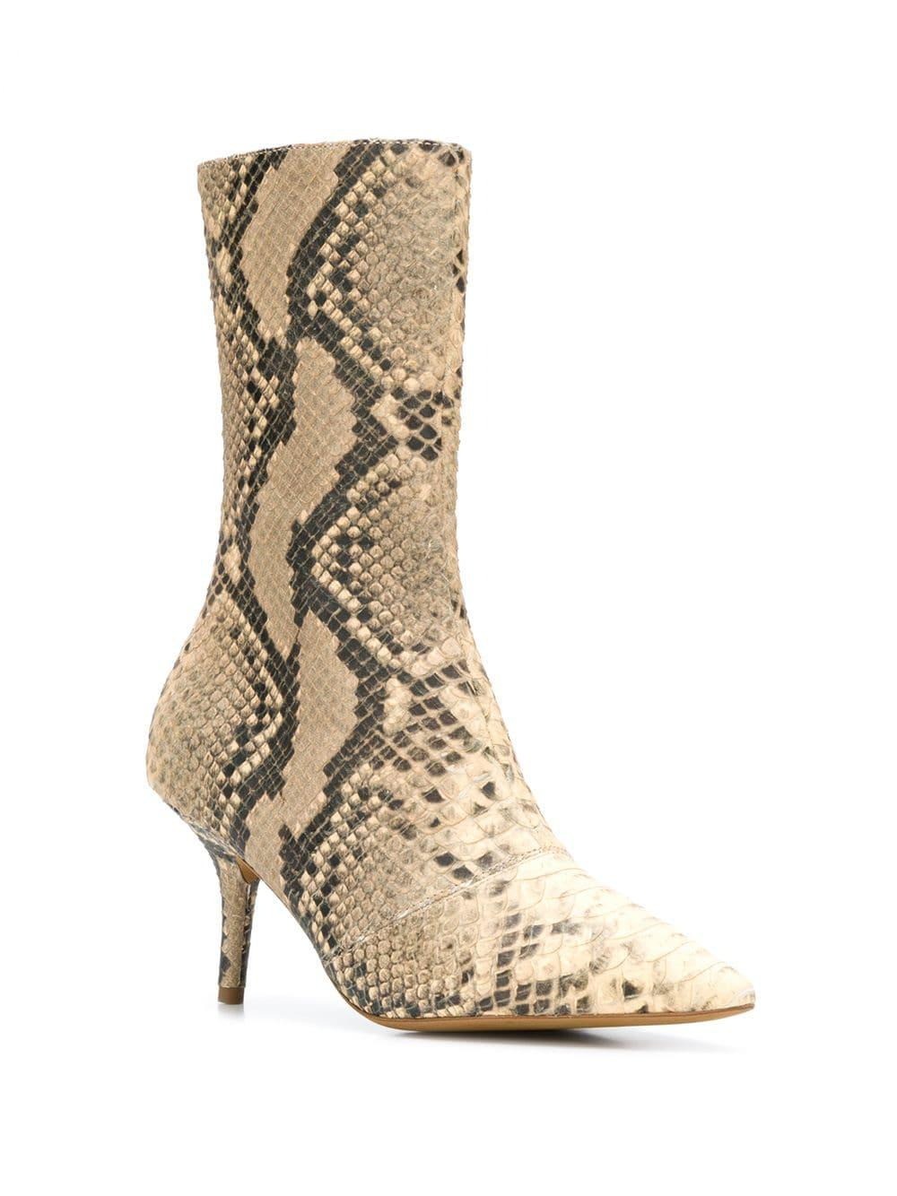 25705f90086 Yeezy Faux Snake Effect Boots in Natural - Lyst