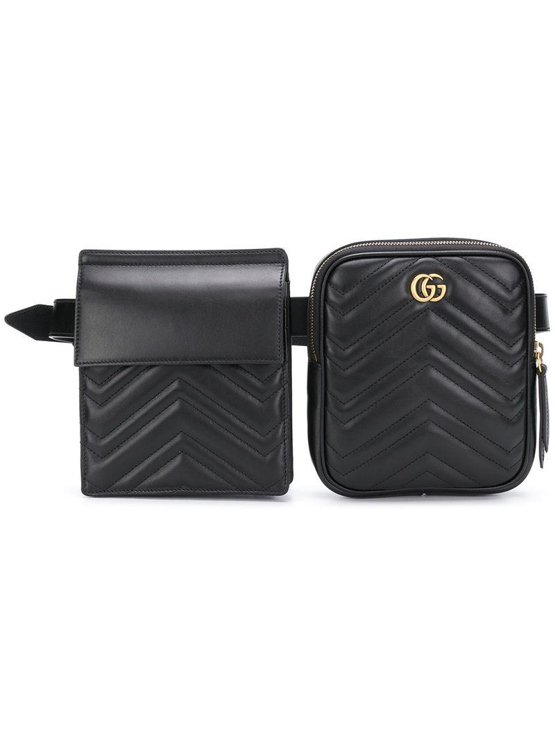 6120755632a7 Gucci Marmont Logo Belt Bag in Black for Men - Lyst