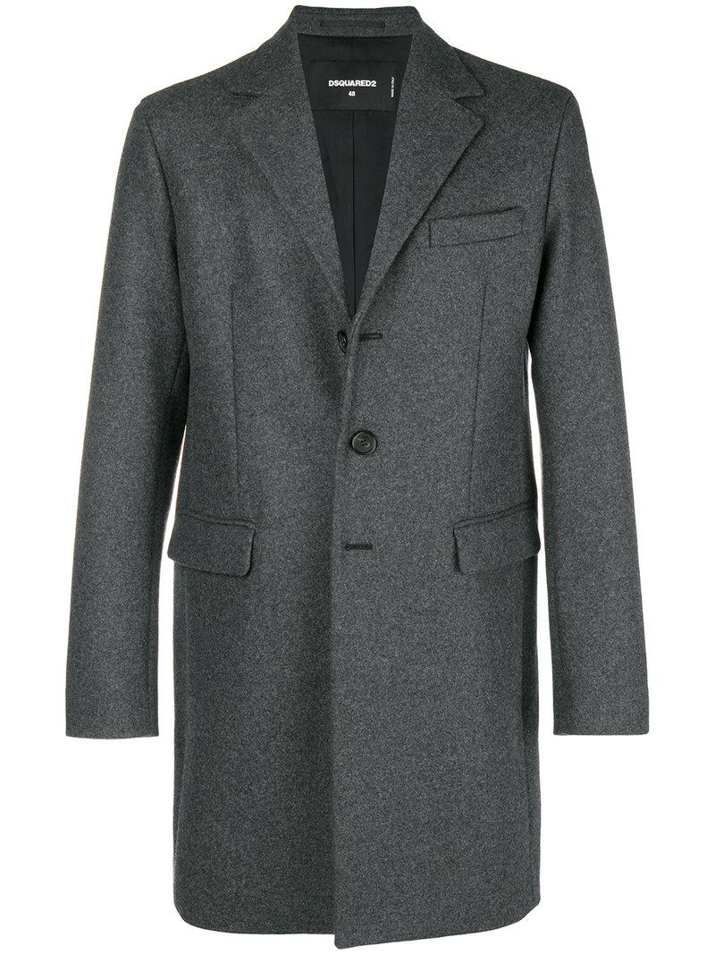 Men Lyst Breasted Fitted In Single Gray For Coat Dsquared² g0p6n