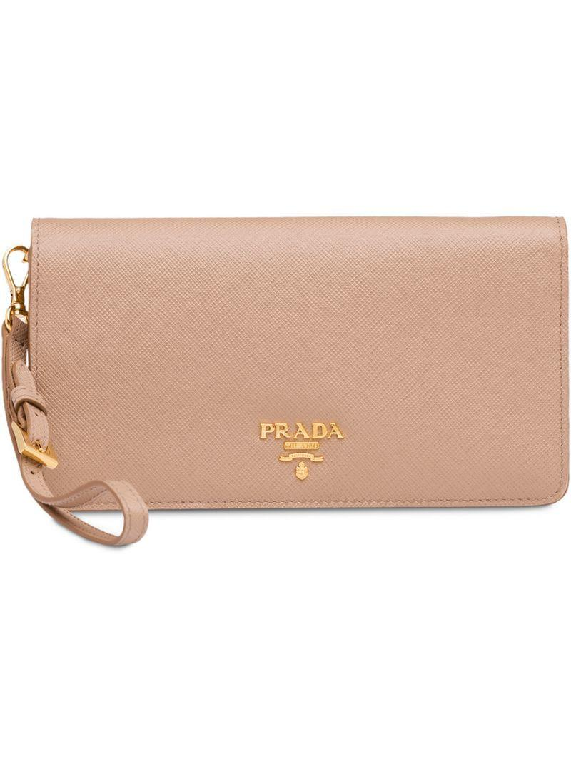 44749f0611b0 Lyst - Prada Saffiano Leather Mini Bag in Natural