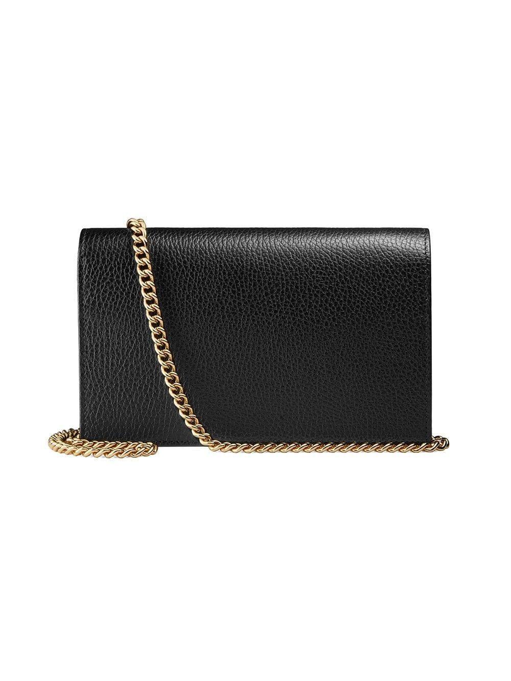 5676f8169a9eab Gucci Gg Marmont Leather Mini Chain Bag in Black - Save 3% - Lyst