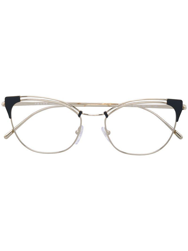 b23f48257f63 Prada Cat-eyed Frame Glasses in Metallic - Lyst