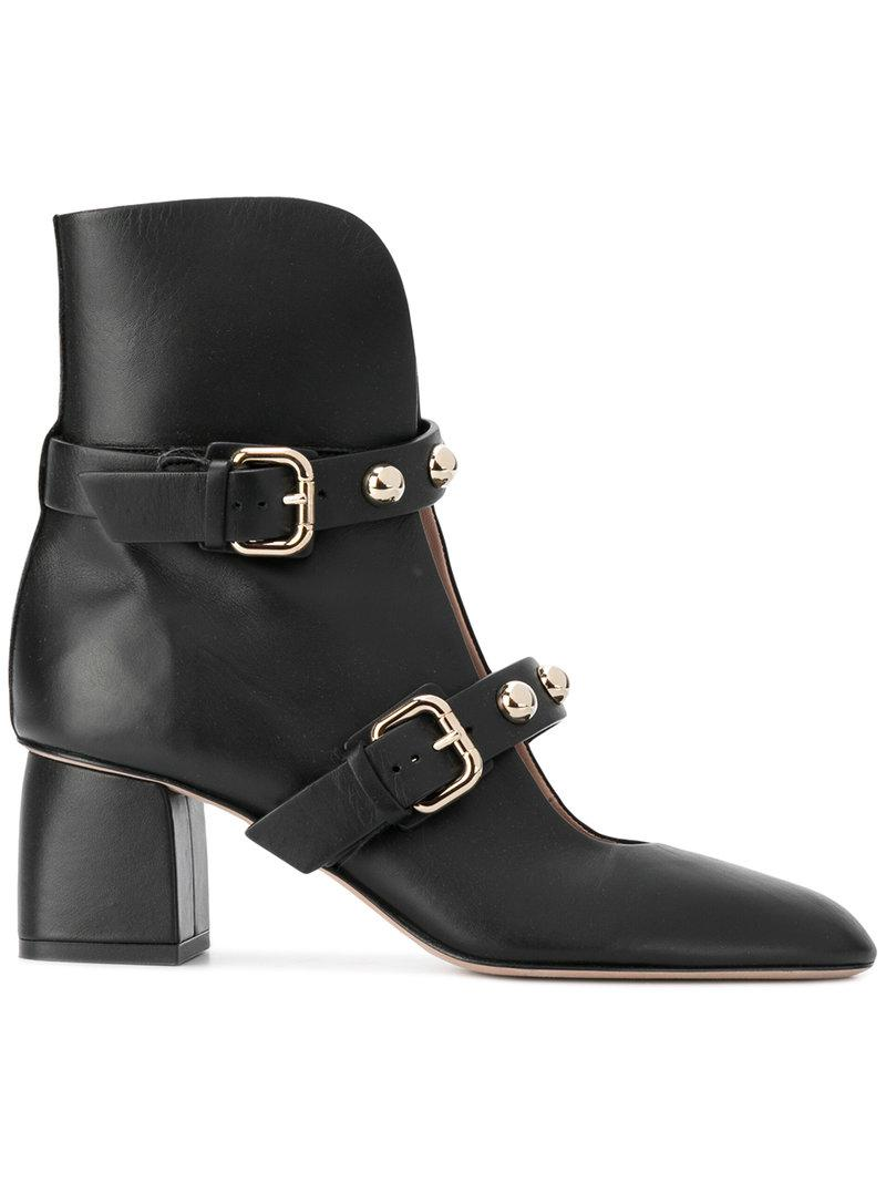 Red Valentino side buckle embellished boots - Black farfetch neri Pelle
