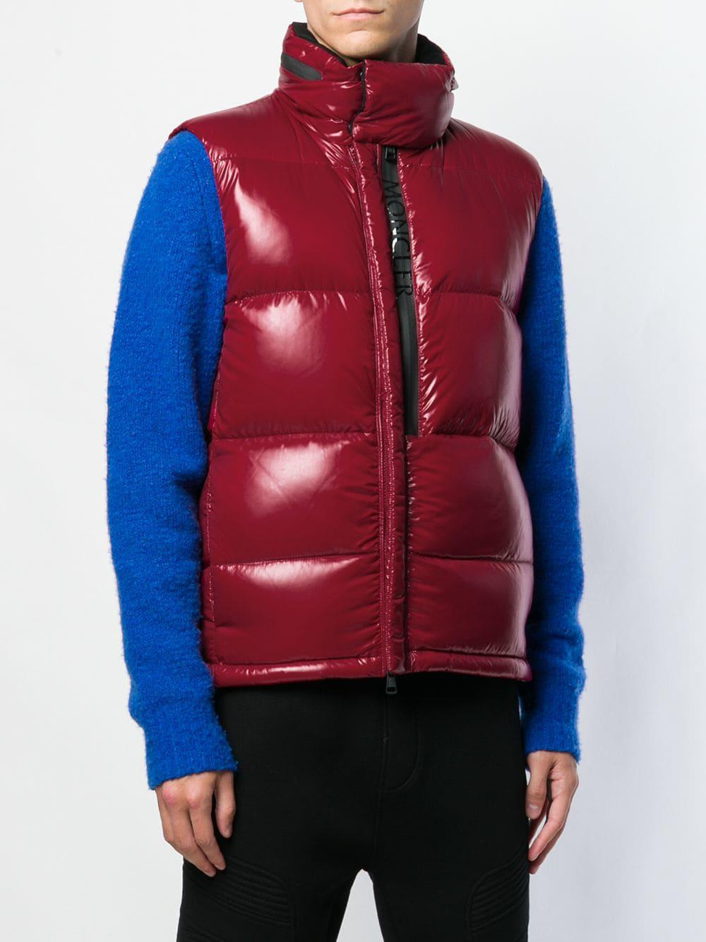 2bd5b8a65d5d Moncler - Red Contrast Stripe Padded Gilet for Men - Lyst. View fullscreen