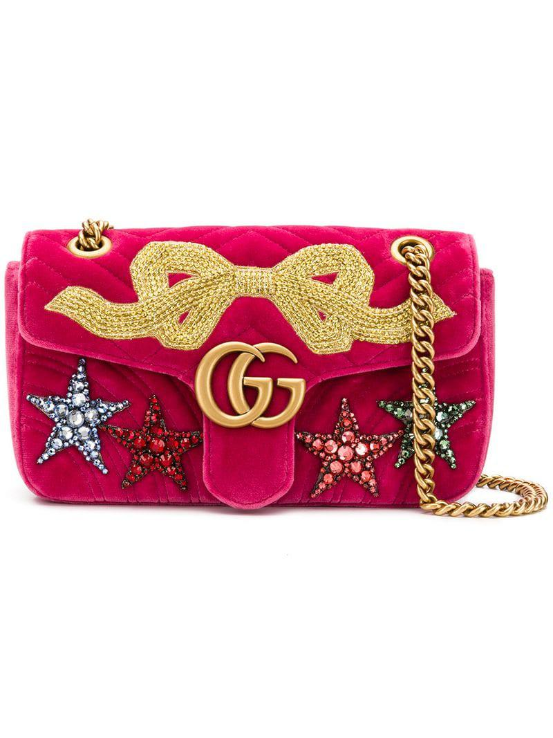 7b06f7b15835 Gucci GG Marmont Small Velvet Shoulder Bag in Pink - Lyst