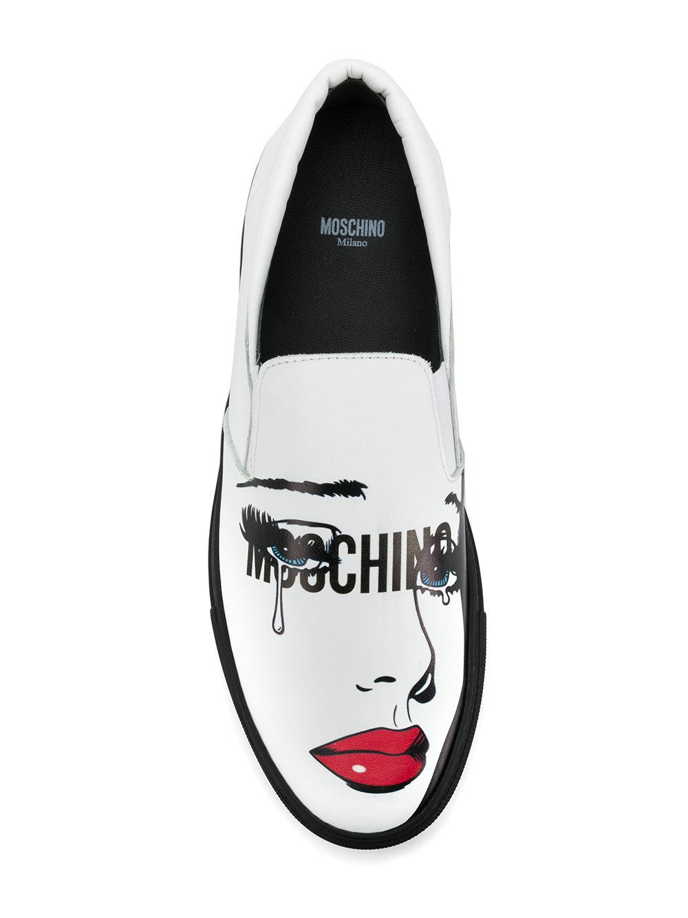 pop art print slip-on sneakers - White Moschino ECg3qAlJ2