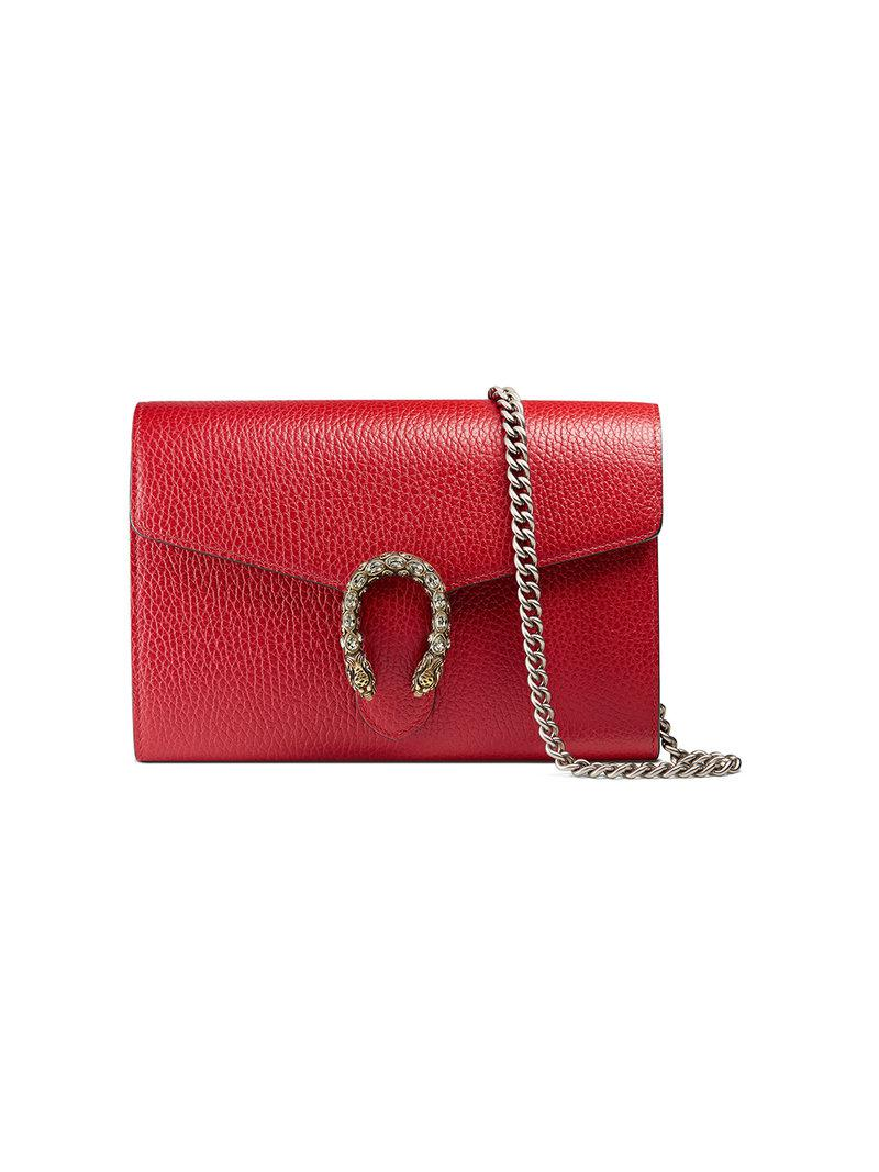 3cb31331f58 Lyst - Gucci Dionysus Leather Mini Chain Bag in Red