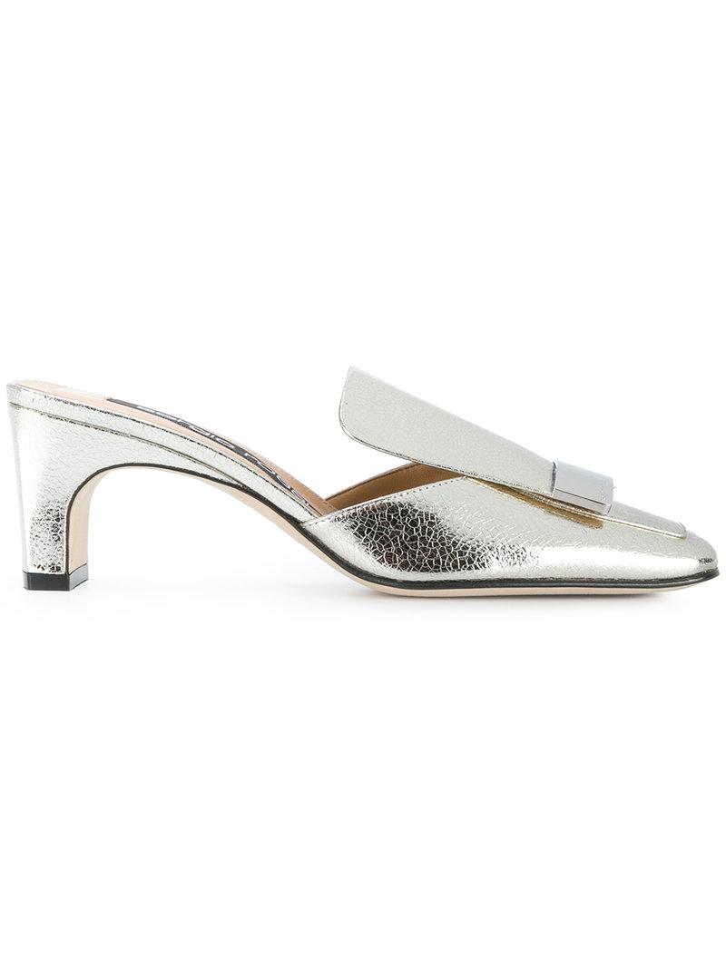 9c56b22c3679 Sergio Rossi Square Toe Mules in Metallic - Lyst