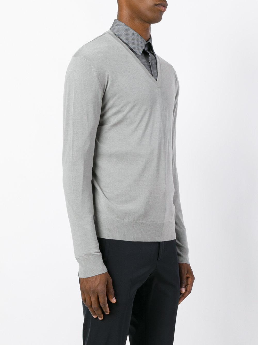 5723feb84 Lyst - Prada Light V-neck Sweater in Gray for Men