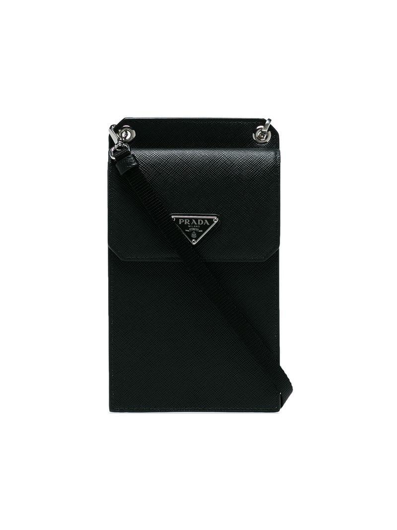 d47f2639f8a5 Prada Small Detachable Strap Leather Pouch in Black for Men - Lyst