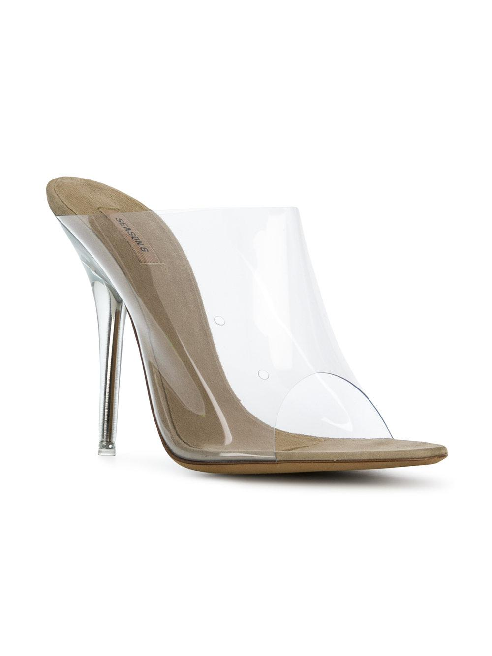 Yeezy Season 6 Ankle Strap PVC Heels in Neutrals. xjXiVod9