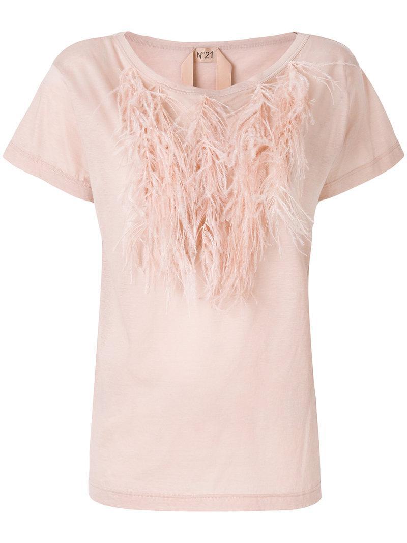N Camiseta y púrpura con 21 Rosa ° de plumas ribete p0TfqpA